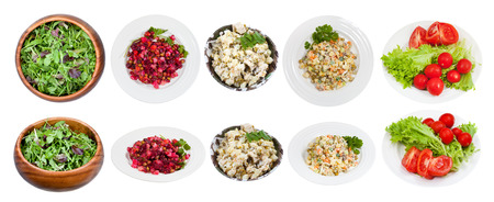 set of typical salads isolated on white background photo