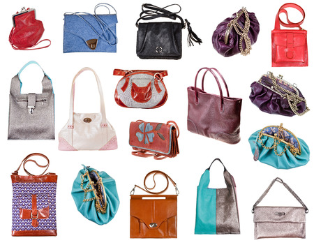portmanteau: set of ladies bags isolated on white background Stock Photo