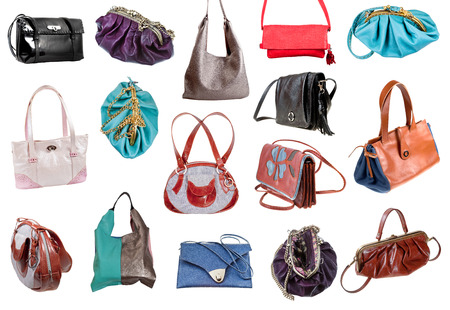 portmanteau: collection of ladies bags isolated on white background