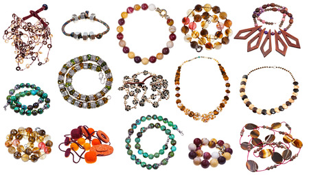 set of natural material necklaces isolated on white background Stock Photo - 24662044