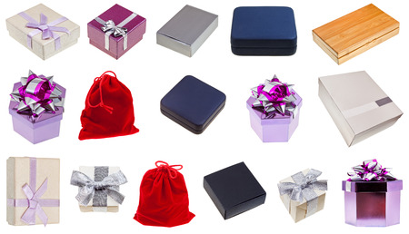 set of different gift boxes isolated on white background photo