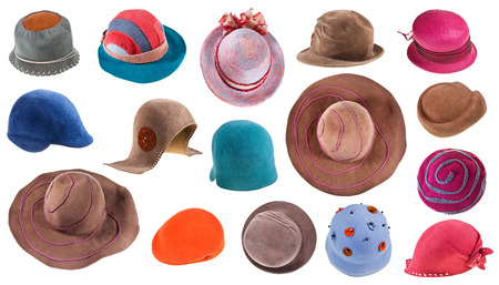 collection of felt ladies hats isolated on white background