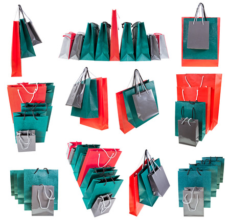 set of different paper shopping bags isolated on white backgrounds photo
