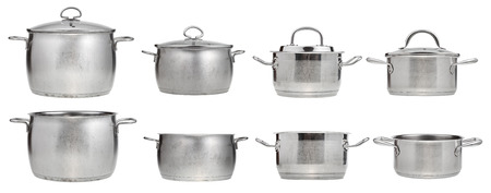 set of side view of stainless steel saucepans isolated on white background photo