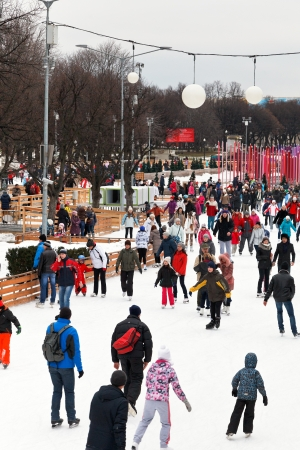 tree dweller: MOSCOW, RUSSIA - JANUARY 2, 2013: crowds of townspeople skating rink on ice covered paths in Gorky Central Park on winter weekends. This is Europes largest artificial ice rink area 18 000 sq. m