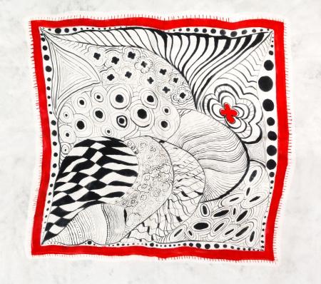 abstract black drawing pattern of painted silk batik on handmade scarf photo
