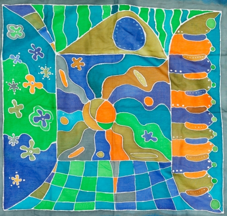 abstract architectural pattern of painted silk batik on handmade scarf photo