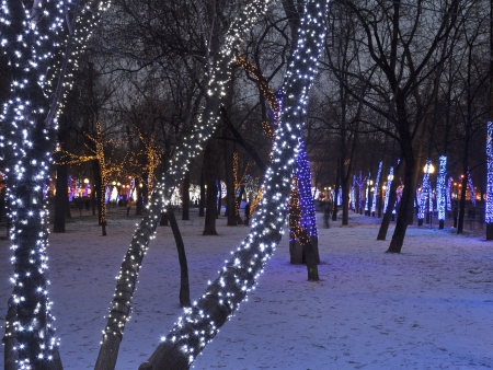 christmas night illumination of Moscow Clear Ponds  Chistoprudniy  boulevard photo