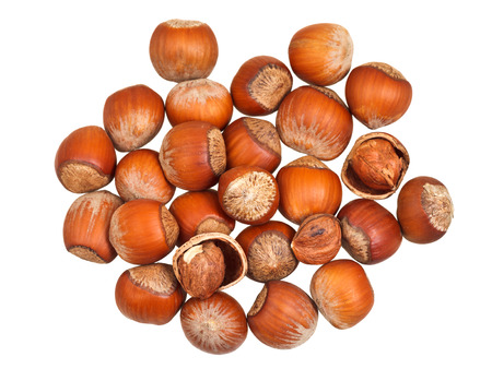 avellan: handful of hazelnuts isolated on white background Stock Photo