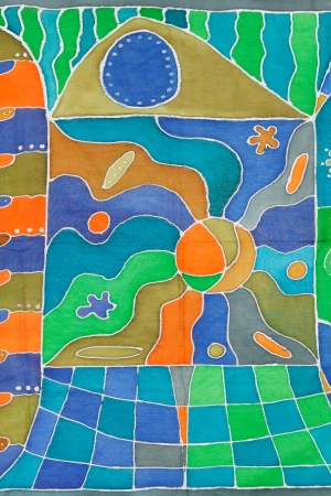 abstract country pattern of painted silk batik on handmade scarf photo