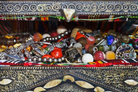 antique jewelry in ancient treasure chest close up photo