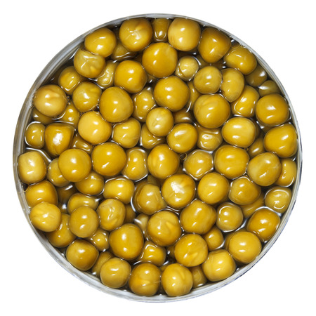 above view of canned green peas in tin photo