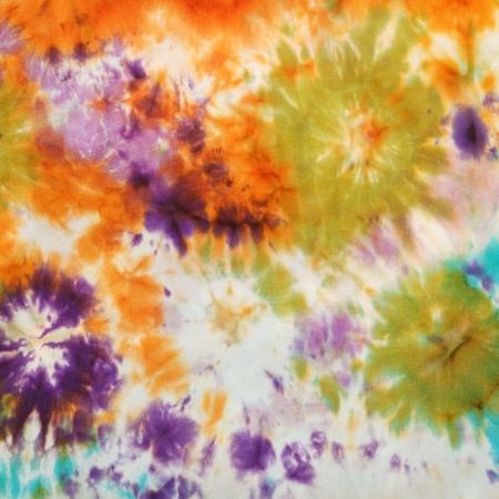 nodular: abstract stained nodular pattern of painted silk batik on handmade scarf Stock Photo
