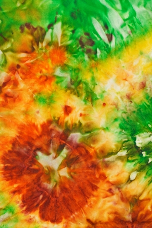 abstract bright flowers pattern of painted silk batik on handmade scarf Stock Photo - 25047000