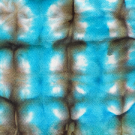 abstract blue network pattern of painted silk batik on handmade scarf photo