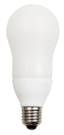 energy-saving compact fluorescent lamp on white background photo