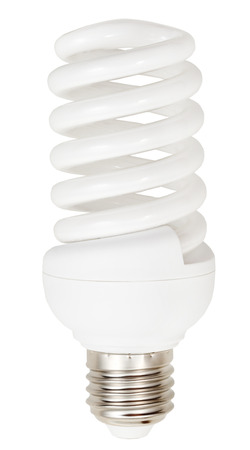 helical: energy-saving helical compact fluorescent lamp on white background