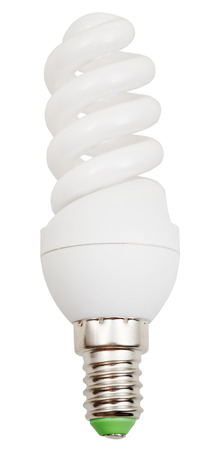 helical: energy-saving helical fluorescent lamp on white background