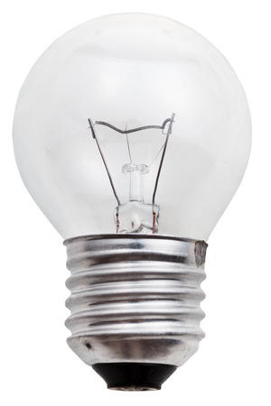 small incandescent light bulb isolated on white background photo