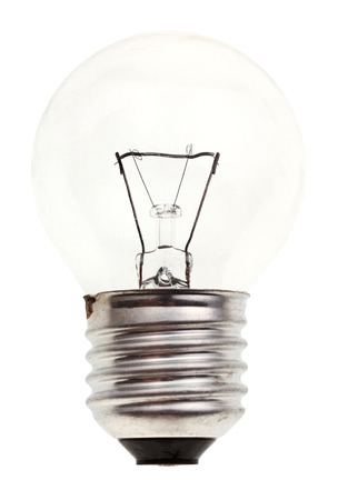 e27: small transparent incandescent light bulb isolated on white background