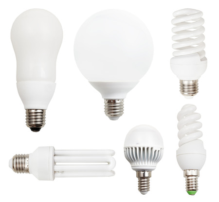 set of energy-saving compact fluorescent, LED light bulbs isolated on white background