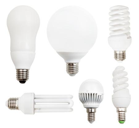 e27: set of energy-saving compact fluorescent, LED light bulbs isolated on white background