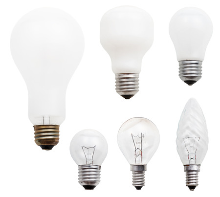 e27: set of usual incandescent light bulbs isolated on white background