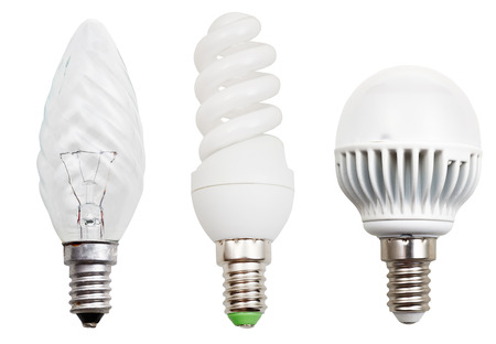set of incandescent, compact fluorescent, LED light bulbs isolated on white background photo