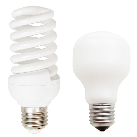 helical: two lamps - incandescent and helical compact fluorescent light bulbs isolated on white background