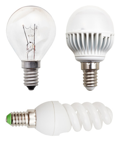helical: incandescent, helical fluorescent, LED light bulbs isolated on white background Stock Photo