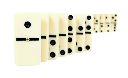 nip: winding line from dominoes isolated on white background