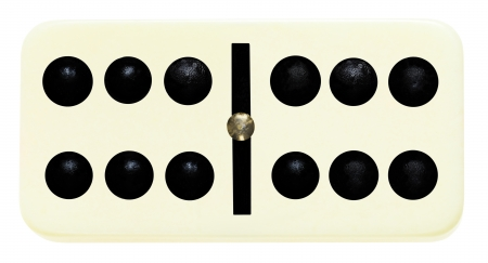 six six domino tile on isolated on white background Banque d'images