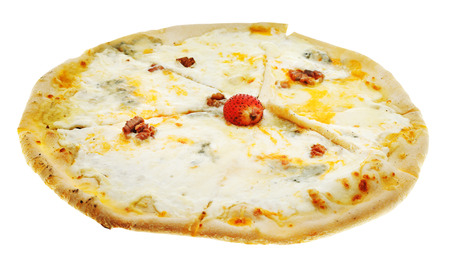 italian pizza four cheese isolated on white background photo