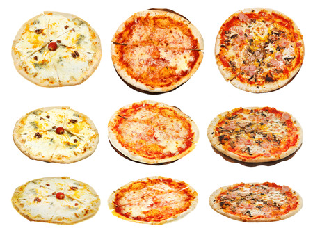 4 of a kind: set of three kinds of italian pizza isolated on white background Stock Photo