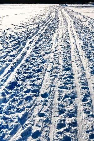 ski runs: ski runs in snowy field in cold winter day