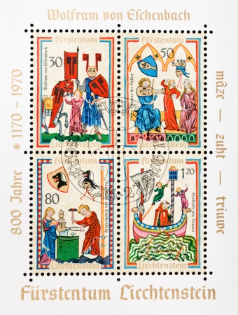 codex: LIECHTENSTEIN - CIRCA 1970: postage stamp printed in Liechtenstein shows illustrations dedicated to german poets from medieval Manesse Codex in honor of 800th anni Wolfram von Eschenbach, circa 1970 Editorial