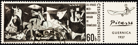 CZECHOSLOVAKIA - CIRCA 1967: A postage stamp printed in the Czechoslovakia shows Guernica painting by Pablo Picasso from Museo Reina Sofia Madrid Spain, circa 1967