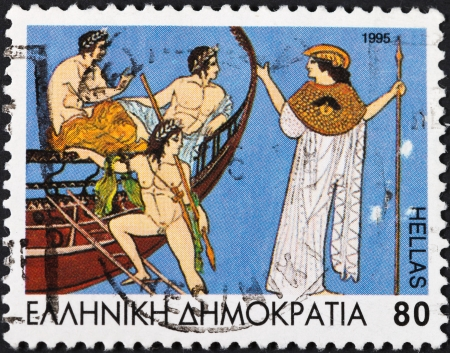 GREECE - CIRCA 1995: A postage stamp printed in the Greece shows Golden fleece myth hero Jason and his band Argonauts and Athena, circa 1995