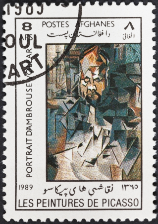 DEMOCRATIC REPUBLIC of AFGHANISTAN - CIRCA 1989: A postage stamp printed in the Afghanistan shows portrait of Ambroise Vollard by Picasso, circa 1989