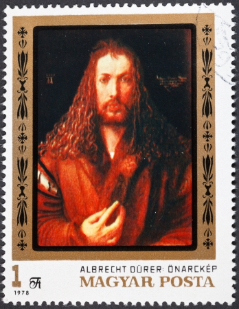 durer: HUNGARY - CIRCA 1978: A postage stamp printed in the Hungary shows painting Albrecht Durer self portrait from Alte Pinakothek Munich, circa 1978