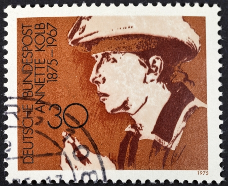 FEDERAL REPUBLIC OF GERMANY - CIRCA 1975: A postage stamp printed in the West Germany shows Annette Kolb (German author and pacifist), circa 1975