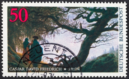 caspar: FEDERAL REPUBLIC OF GERMANY - CIRCA 1974: A postage stamp printed in the West Germany shows painting Man and Woman Contemplating the Moon by Caspar David Friedrich, circa 1974