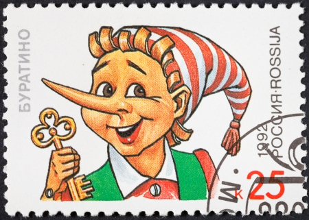 RUSSIA - CIRCA 1992: A postage stamp printed in the Russia shows character Buratino of popular cartoons in USSR, circa 1992