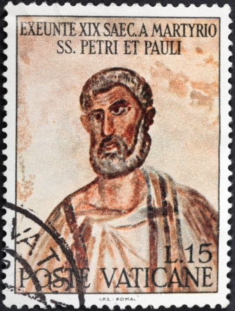 VATICAN - CIRCA 1967: A postage stamp printed in the Vatican shows portrait of Saint Peter from ancient martyrdom in Rome, circa 1967