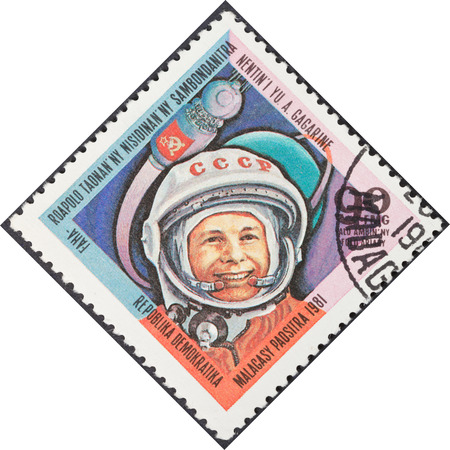 MALAGACY REPUBLIC - CIRCA 1981: A postage stamp printed in the Madagascar shows first astronaut Yuri Gagarin, circa 1981
