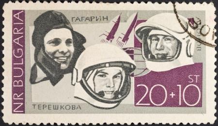 tereshkova: REPUBBLICA DI BULGARIA - CIRCA 1966: Un francobollo stampato in Bulgaria mostra primi astronauti sovietici Gagarin, Tereshkova, Leonov, circa 1966