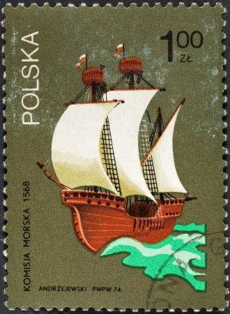 brig: POLAND - CIRCA 1974: A postage stamp printed in the Poland shows sailing three-masted ship in sea, circa 1974