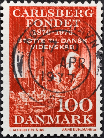 funded: DENMARK - CIRCA 1976: A postage stamp printed in the Denmark shows Carlsberg Laboratory funded by Carlsberg foundation, circa 1976