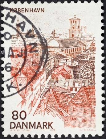 DENMARK - CIRCA 1976: A postage stamp printed in the Denmark shows Copenhagen skyline, circa 1976