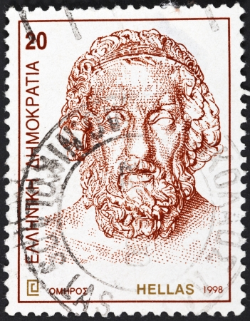 GREECE - CIRCA 1998: A postage stamp printed in the Greece shows bust of ancient Greek poet Homer, circa 1998